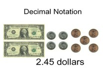 Introducing the concept of decimal notation by relating to counting money.