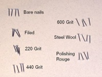 A comparison a nails with a variety of stages of polishing.